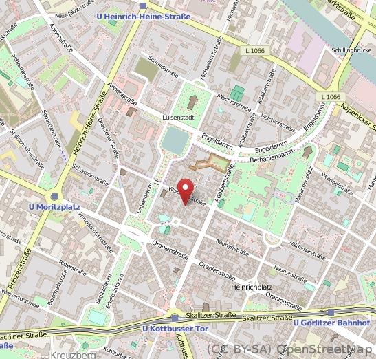 Ein Kartenausschnitt aus Kreuzberg mit einem Marker am Heilehaus
