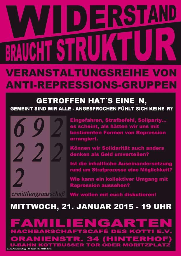 Flyer der Veranstaltung vom EA Berlin aus der Reihe Widerstand bracht Struktur