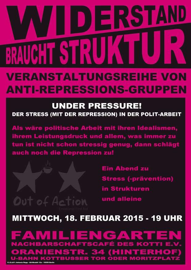 Flyer der Veranstaltung von Out of Action Berlin aus der Reihe Widerstand bracht Struktur