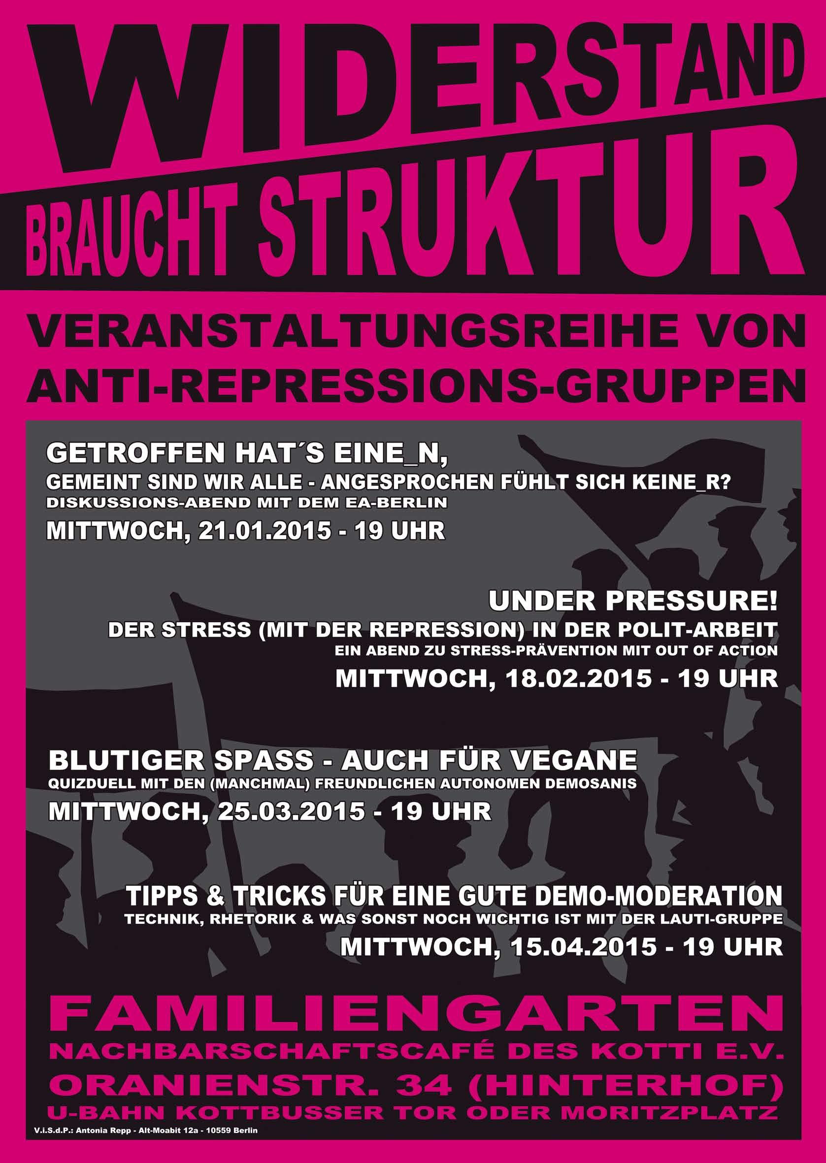 Plakat der Veranstaltungsreihe Widerstand bracht Struktur